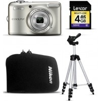 Nikon Coolpix L30 20.1MP (Silver) Combo with Lightweight Aluminum Tripod