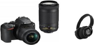 Nikon D3500 DSLR Camera Body with Dual lens: 18-55 mm f/3.5-5.6 G VR and AF-P DX Nikkor 70-300 mm f/4.5-6.3G ED VR - (With Starboy Headphone) DSLR Camera Body with Dual lens: 18-55 mm f/3.5-5.6 G VR and AF-P DX Nikkor 70-300 mm f/4.5-6.3G ED VR(Black)