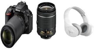 Nikon D5600 DSLR Camera Body with Dual Lens: AF-P DX Nikkor 18 - 55 MM F/3.5-5.6G VR and 70-300 MM F/4.5-6.3G ED VR (16 GB SD Card) - (With Motorola Bluetooth Headphone) DSLR Camera Body with Dual Lens: AF-P DX Nikkor 18 - 55 MM F/3.5-5.6G VR and 70-300 M