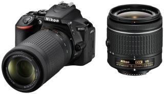 Nikon D5600 DSLR Camera Body with Dual Lens: AF-P DX Nikkor 18 - 55 MM F/3.5-5.6G VR and 70-300 MM F/4.5-6.3G ED VR (16 GB SD Card)(Black)