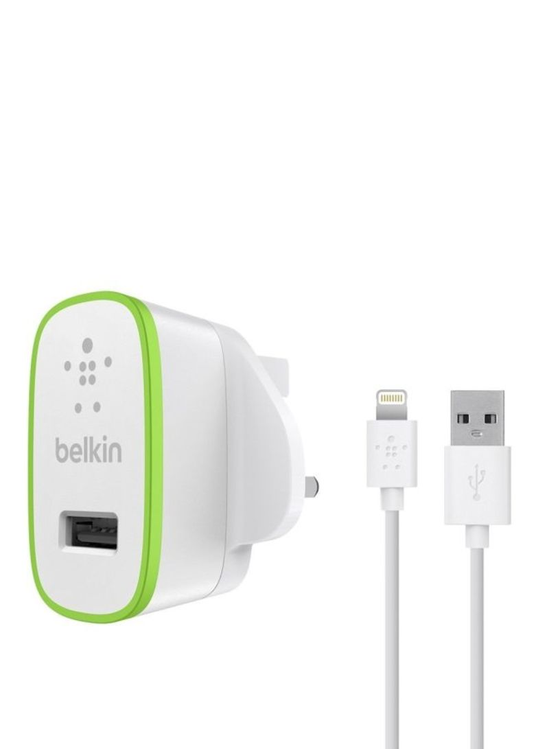BOOST↑UP™ Home Charger With Lightning To USB ChargeSync Cable 12W/2.4A White 12 watts