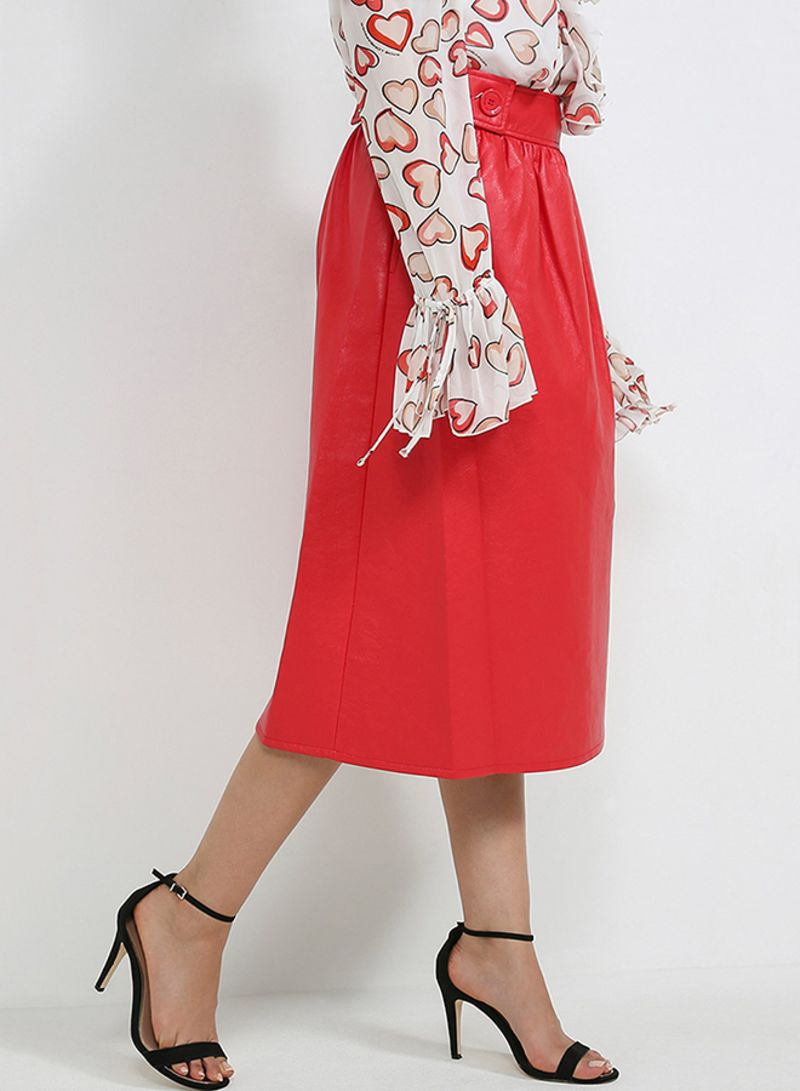 Eco Leather Skirt Red