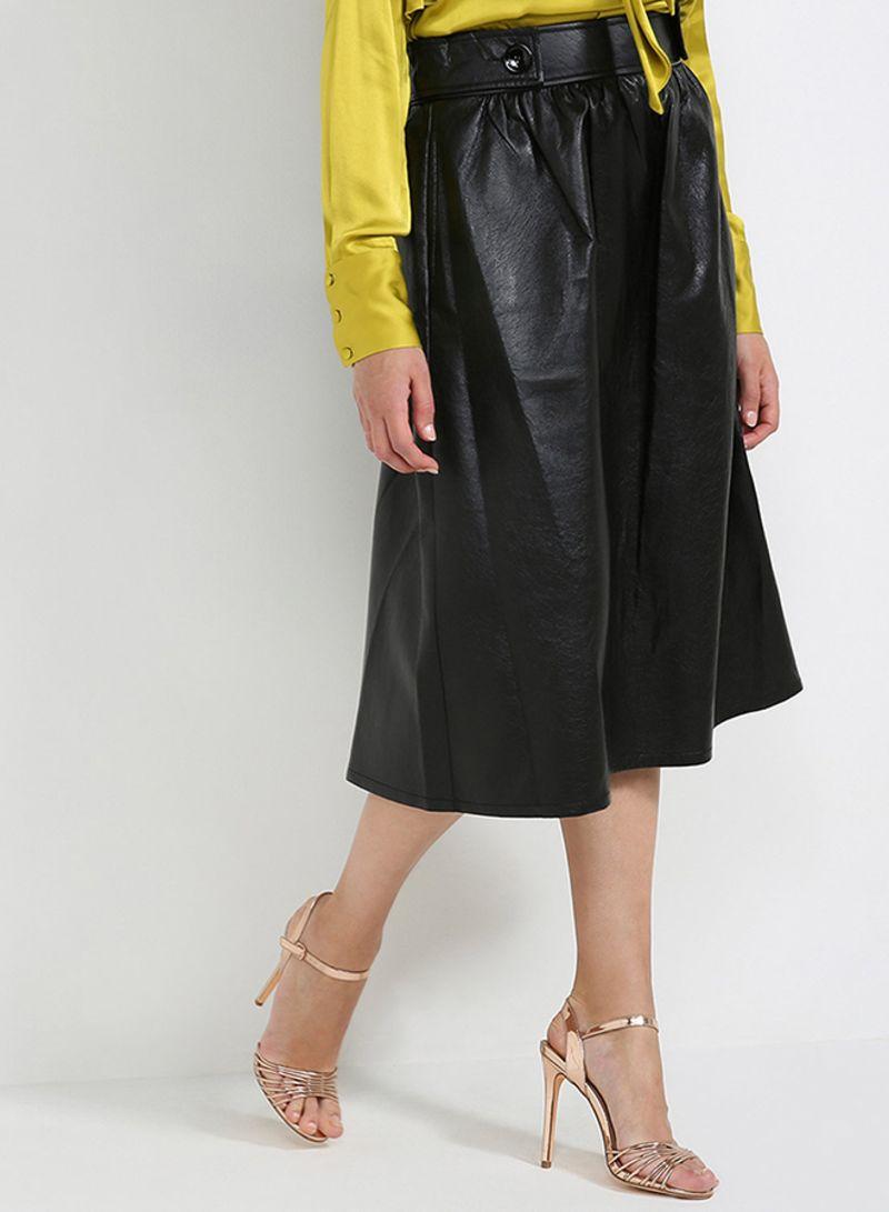 Eco Leather Skirt Black