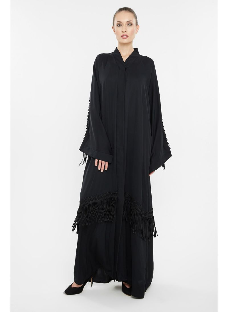 Abaya With Wiry Woven Threads By Sleeves And Ends Black