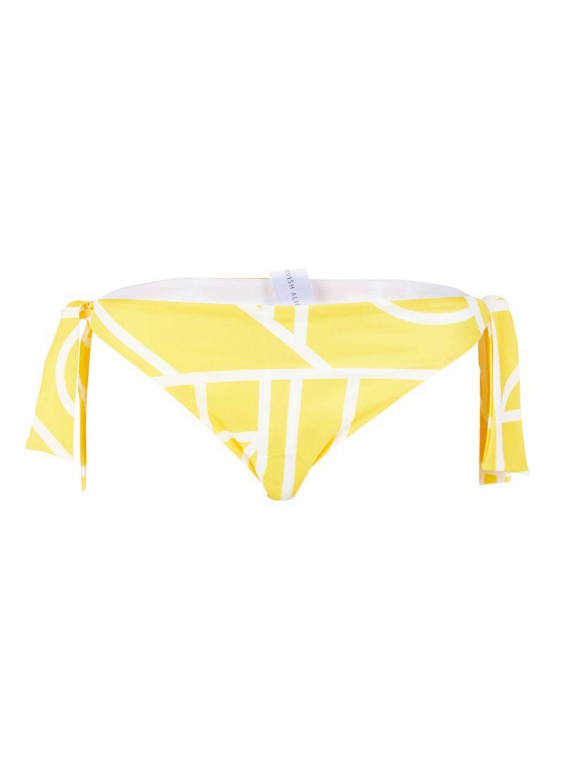 Abstract Print Tie Side Bikini Bottoms Yellow