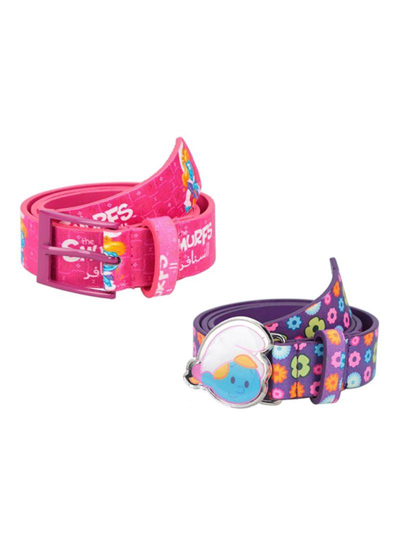 Pack Of 2 Belts Pink/Lavender