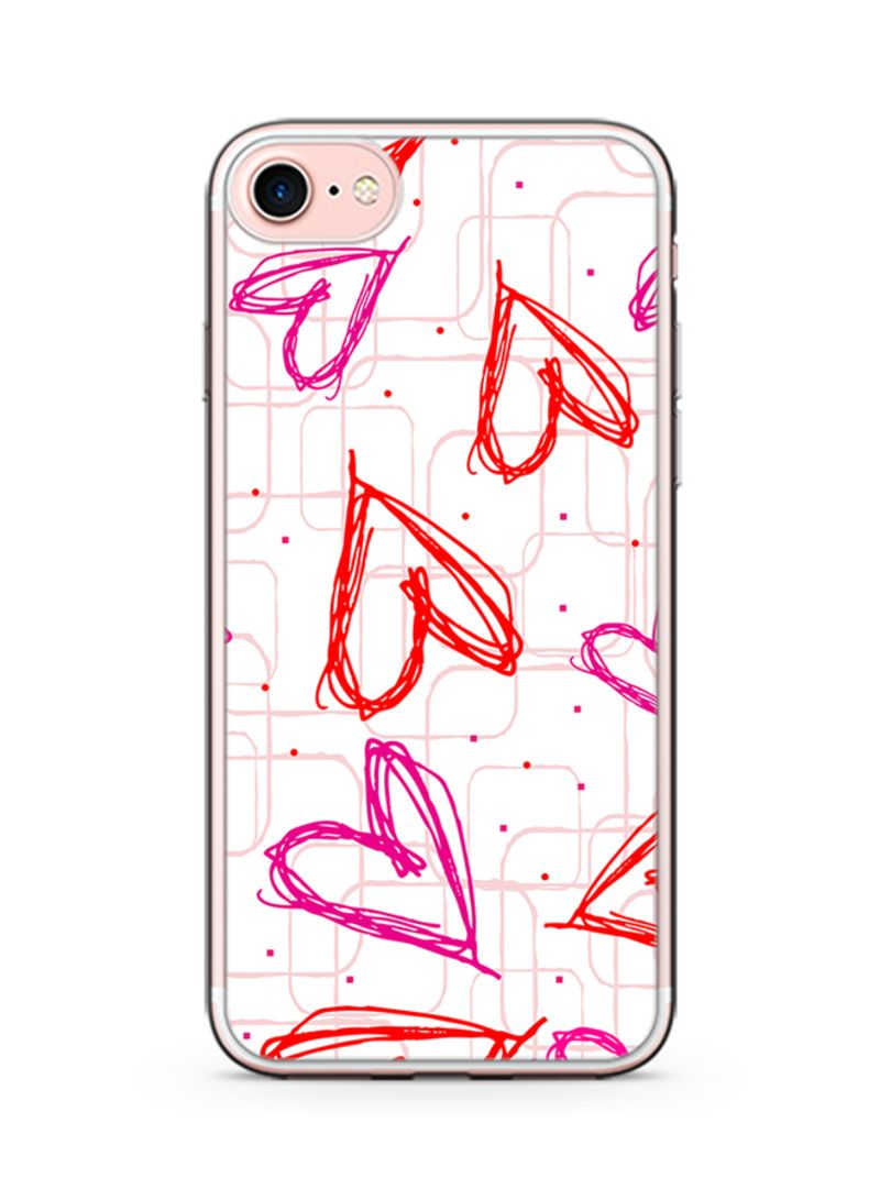 Plastic Ultra Slim Case Cover For Apple iPhone 8 Plus Valentines Gift Hand Drawn Love Heart Pattern