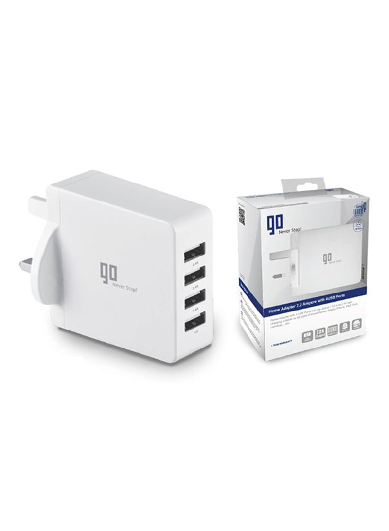 Home Adapter 7.2 Ampere With 4 USB Ports White
