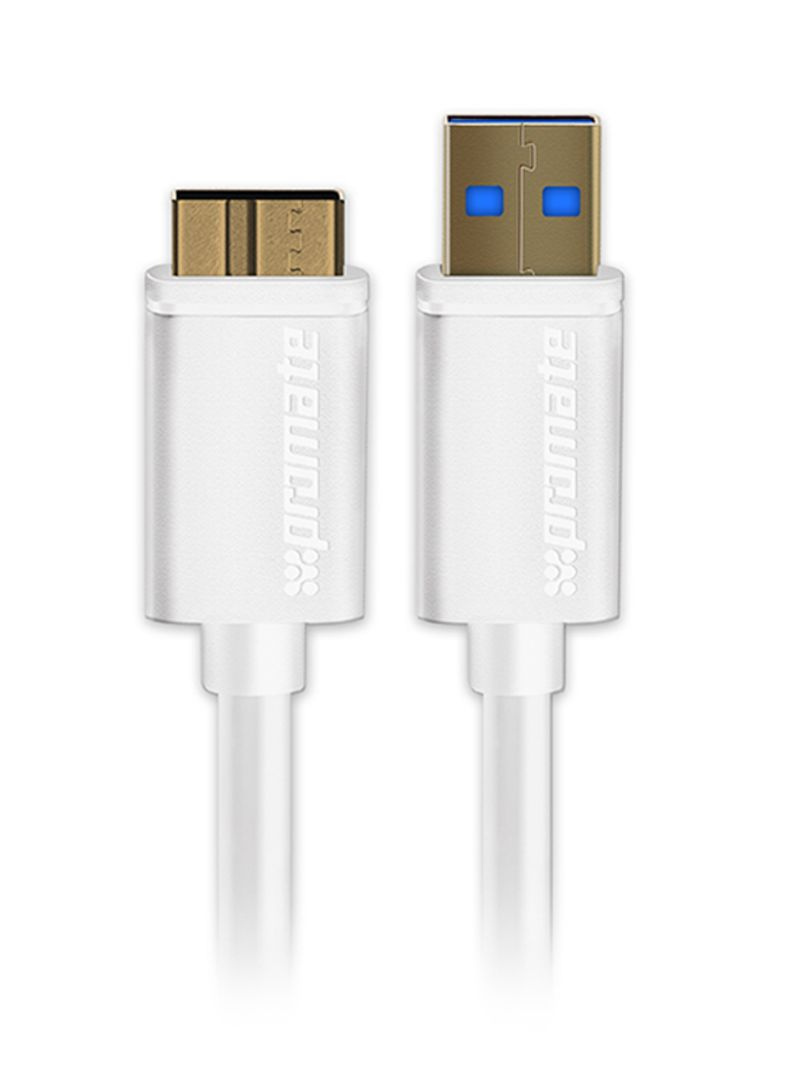 Superspeed USB 3.0 Type A Male To Micro B Male For External Hard Drives Seagate/Toshiba/WD/Hitachi/Samsung White