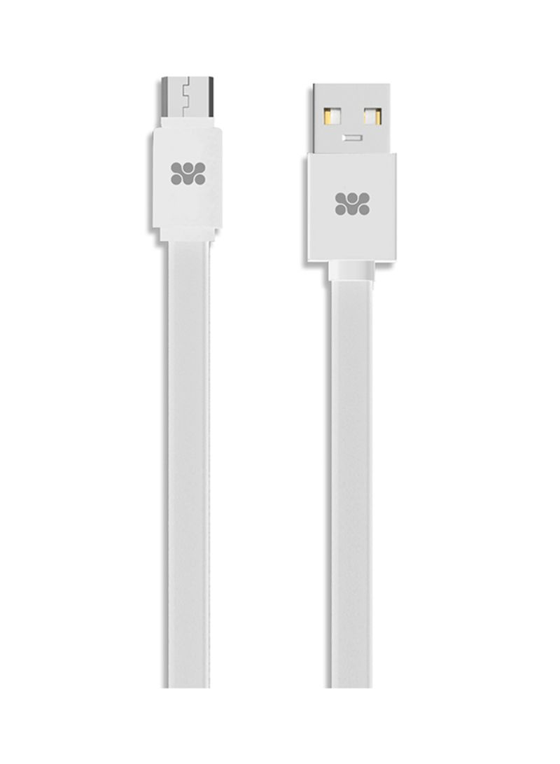 Micro USB Cable, Premium Flat Micro USB Sync & Charge High Speed Cable For Android Smart Phones, Tablets, MP3 Players White 1.2 meter