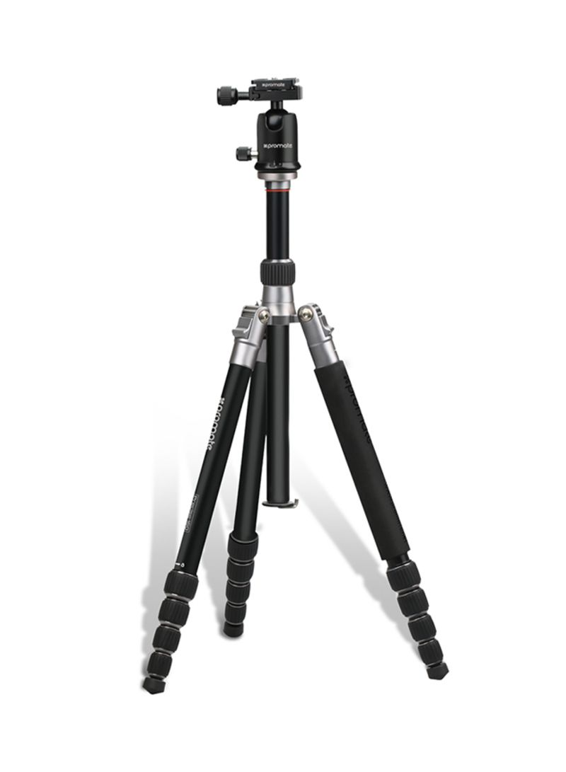 Travel Tripod, Professional Aluminium 160cm Tripod with Integrated Monopod and 5 Section, Dual Bubble Level, 360 Degree Head for Canon, Nikon, DSLR, Smartphones Black