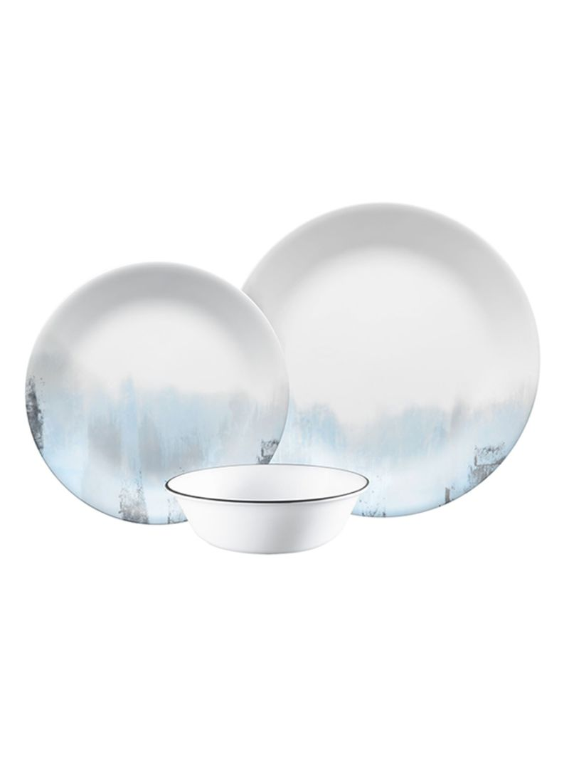 12-Piece Tranquil Reflections Dinnerware Set White/Blue