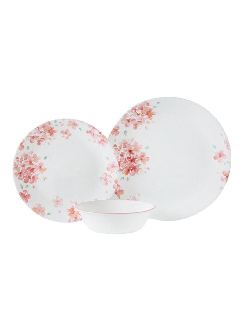 12-Piece Adoria Dinnerware Set Pink/White