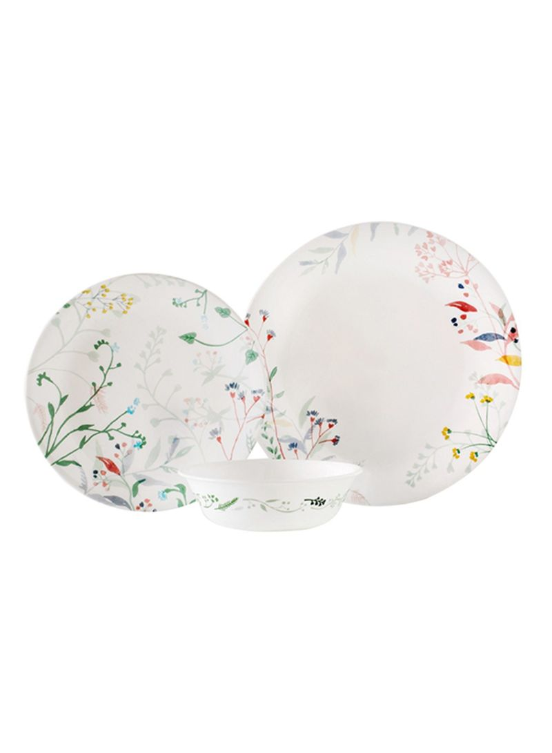 12-Piece Monteverde Dinnerware Set White/Green/Pink