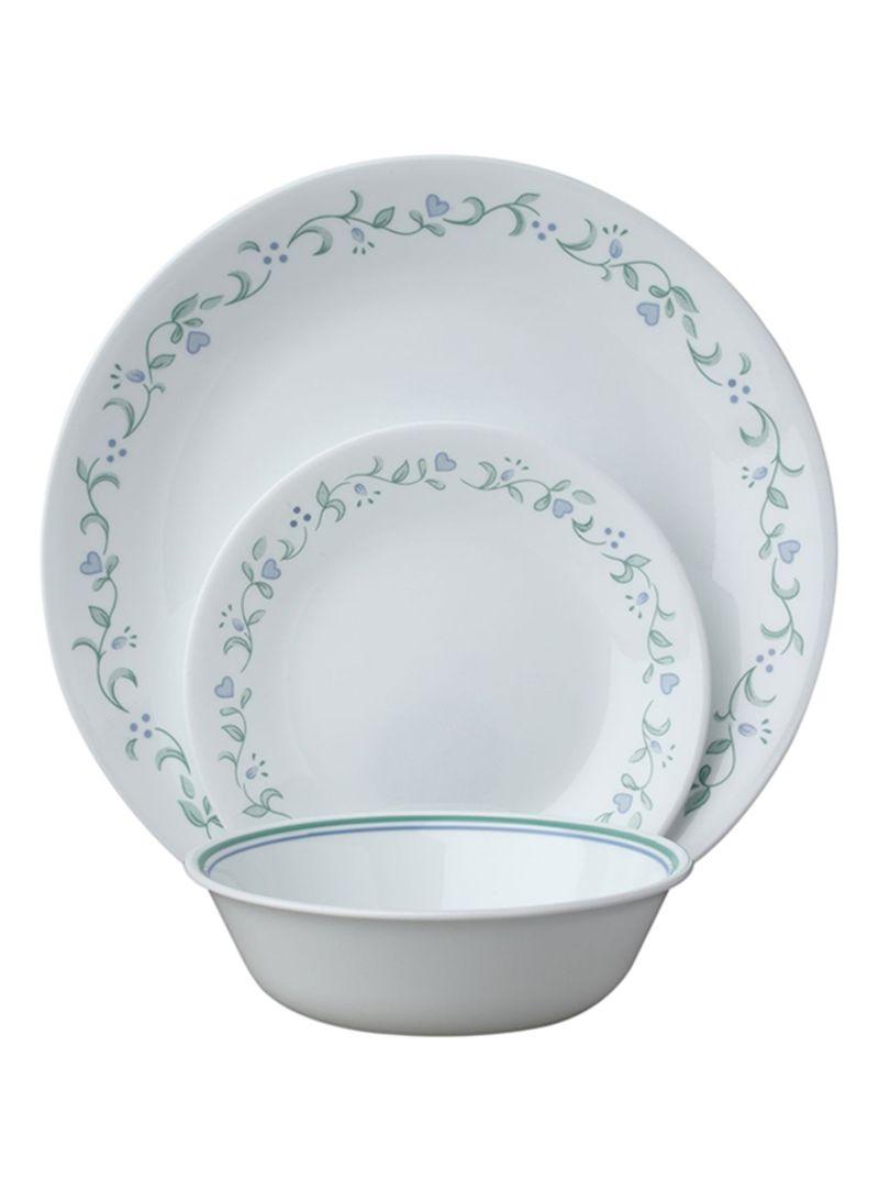 18-Piece Livingware Dinnerware Set White/Green 28.58x14.61 centimeter