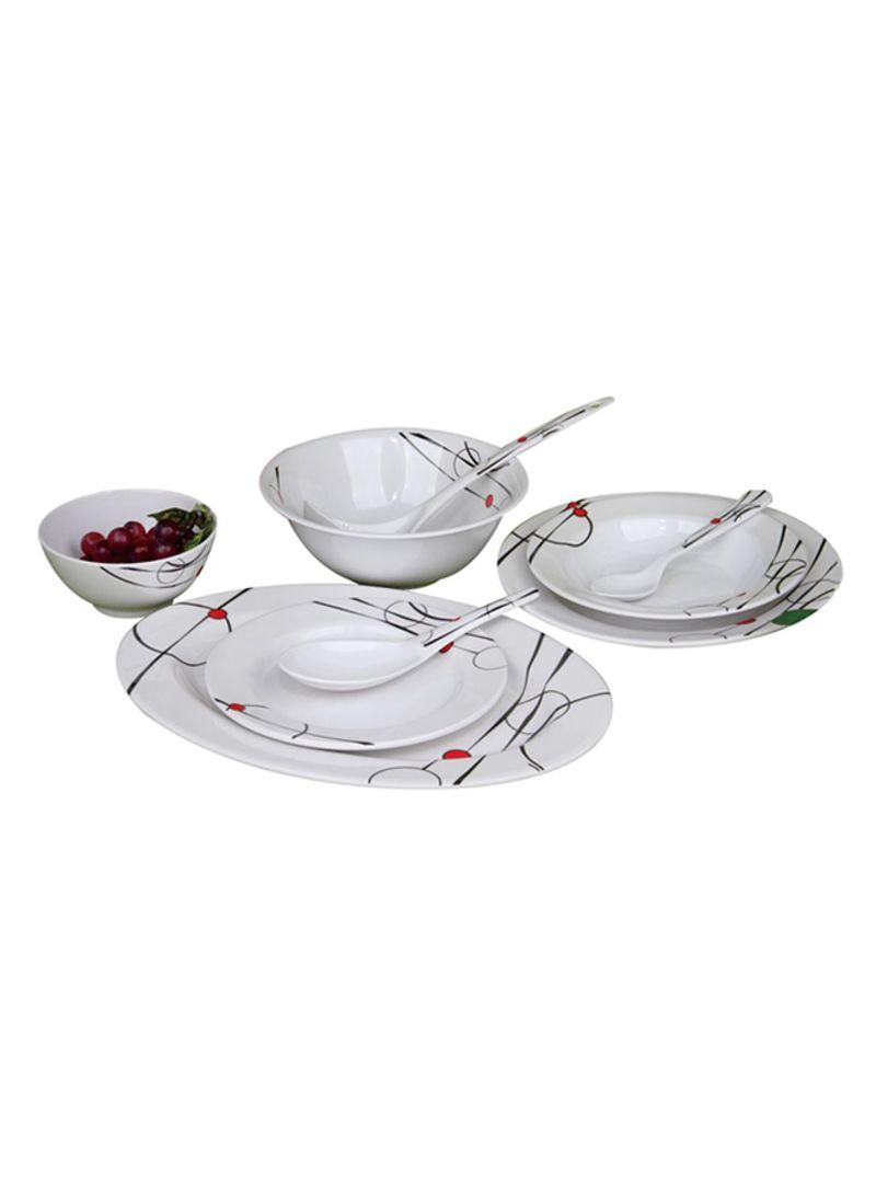 45-Piece Melamine Dinnerware Set White
