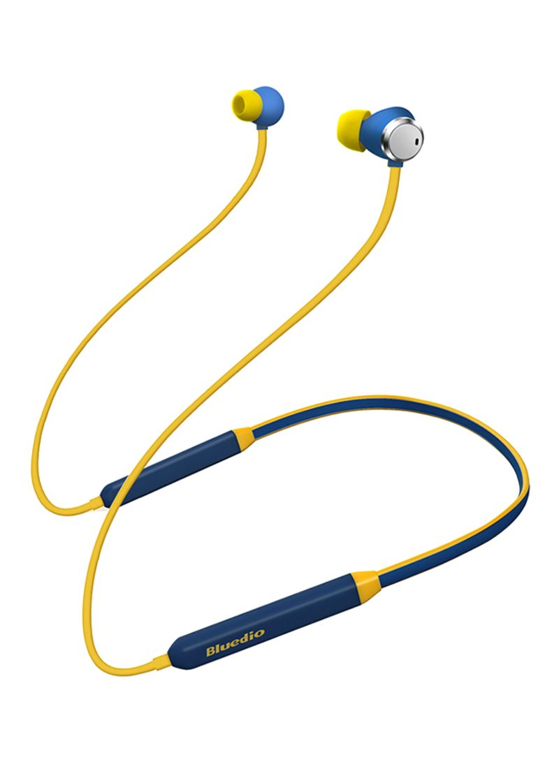 Wireless Bluetooth In-Ear Earphones With Dual Microphones Yellow/Blue