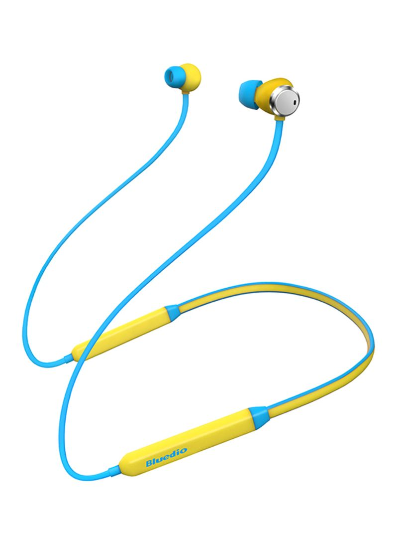 Wireless Bluetooth In-Ear Earphones With Dual Microphones Blue/Yellow