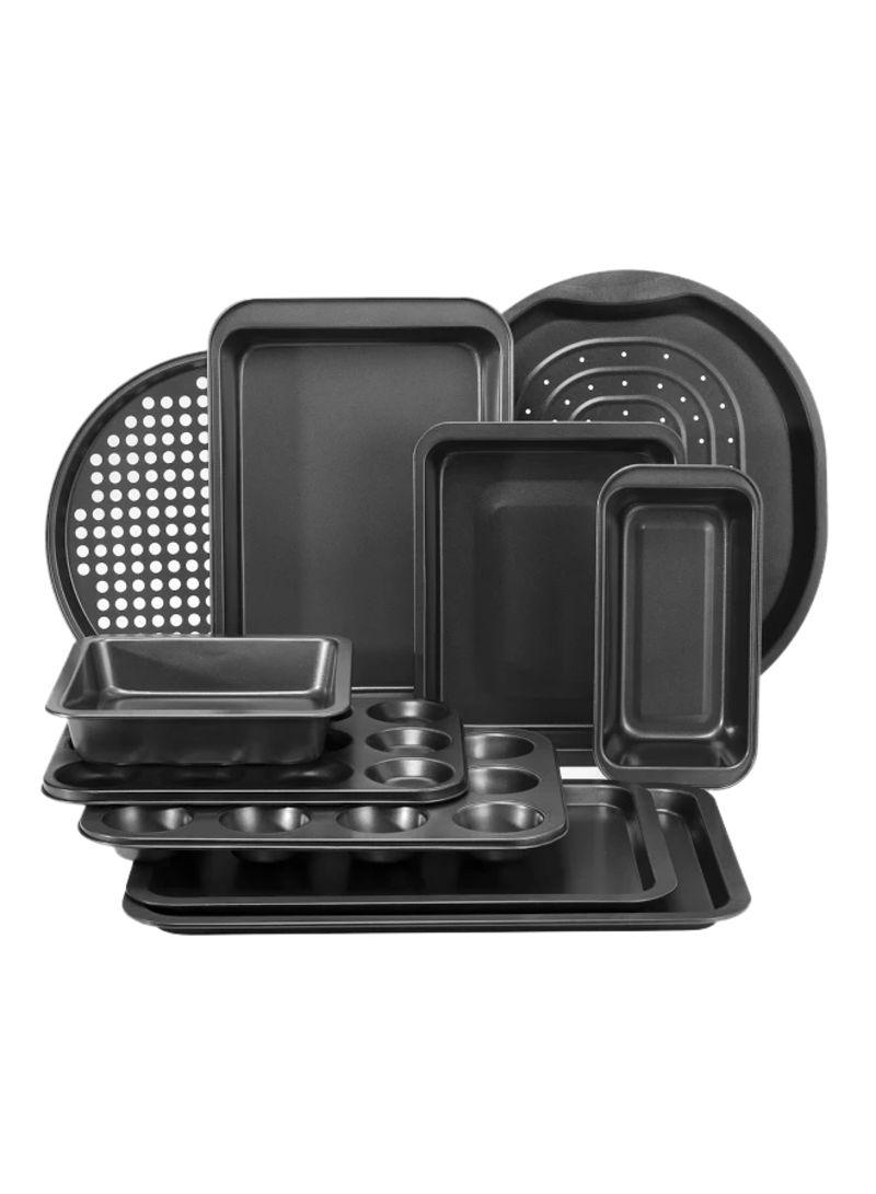 10-Piece Carbon Steel Bakeware Set Black 57x34x43.5 centimeter