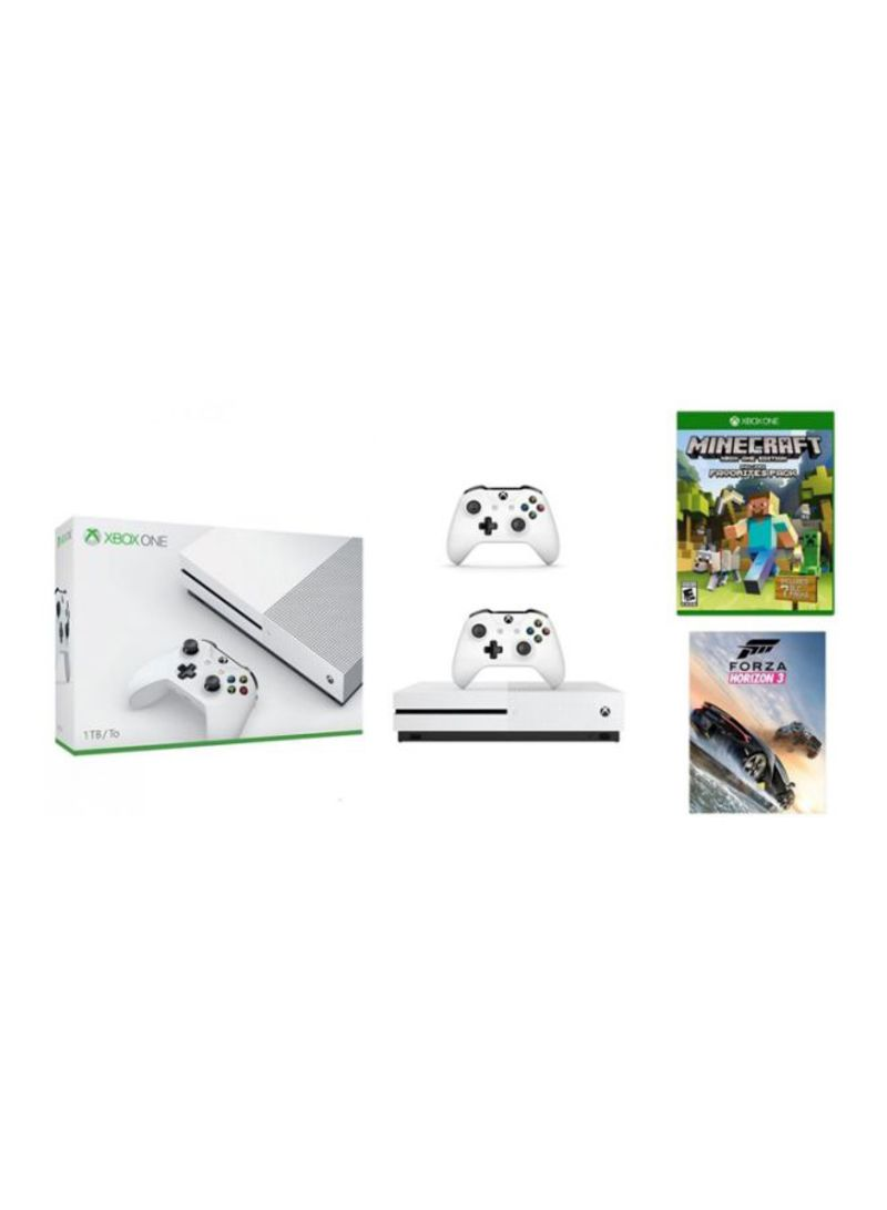 Xbox One S 1TB Console With 2 Games (Minecraft Includes Favourites Pack and Forza Horizon 3)