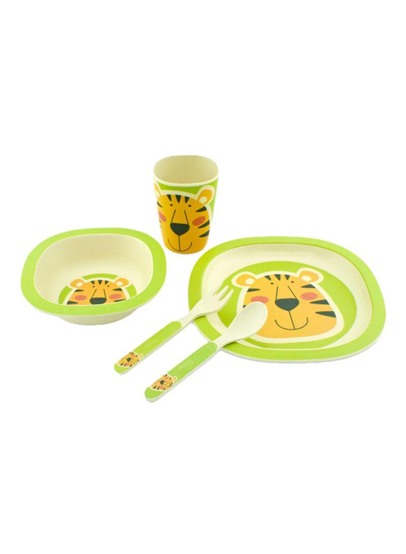 5 Piece Bamboo Fiber Made Dinnerware Set For Kids Green/White 400 g