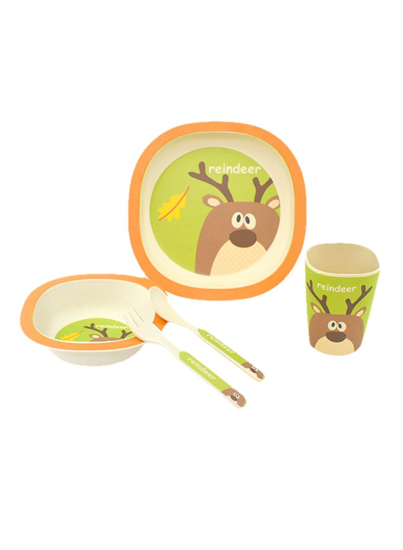 5 Piece Bamboo Fiber Made Dinnerware Set For Kids Orange/Beige/Green 400 g