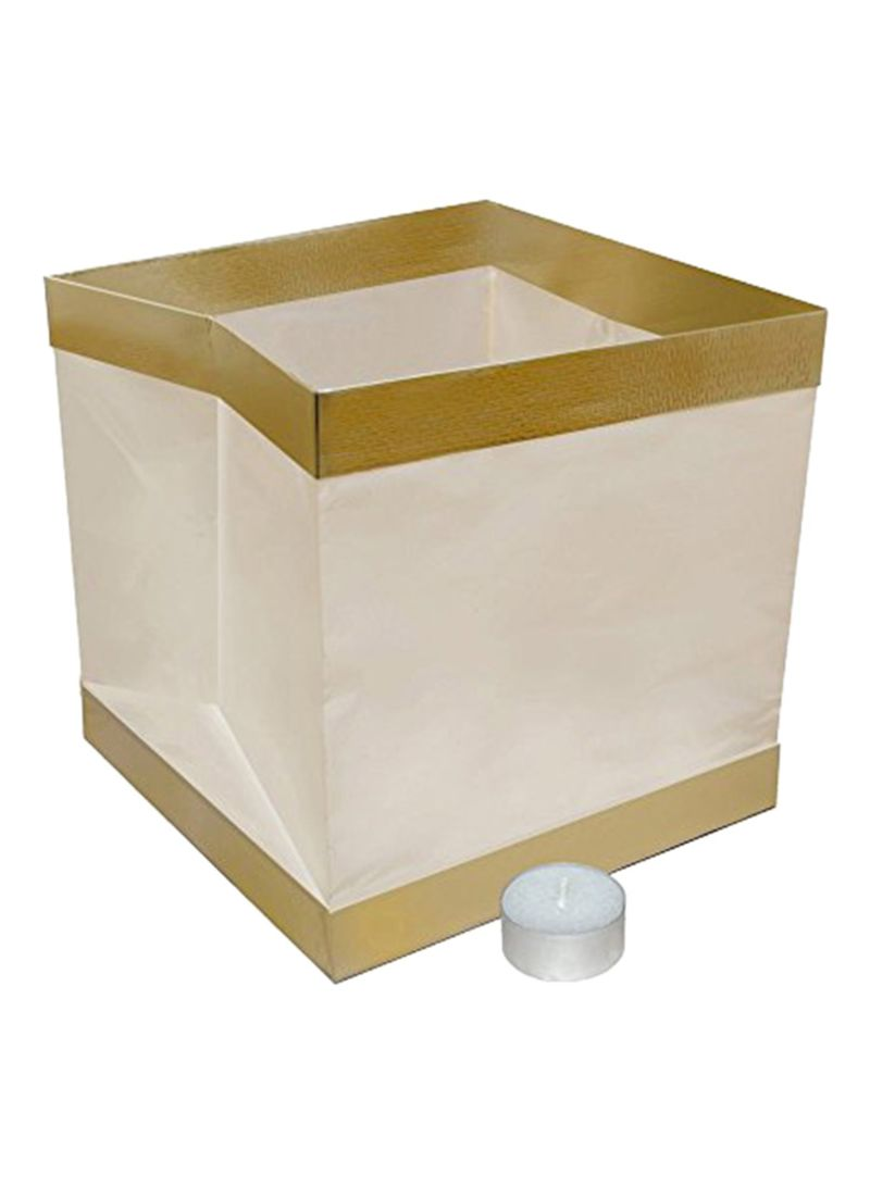 Set Of 10 Biodegradable Water Floating Candle Lantern White/Gold 2.8x6.9x6.5 inch