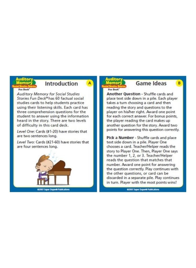 Auditory Memory Social Studies Stories Fun Deck Flash Cards