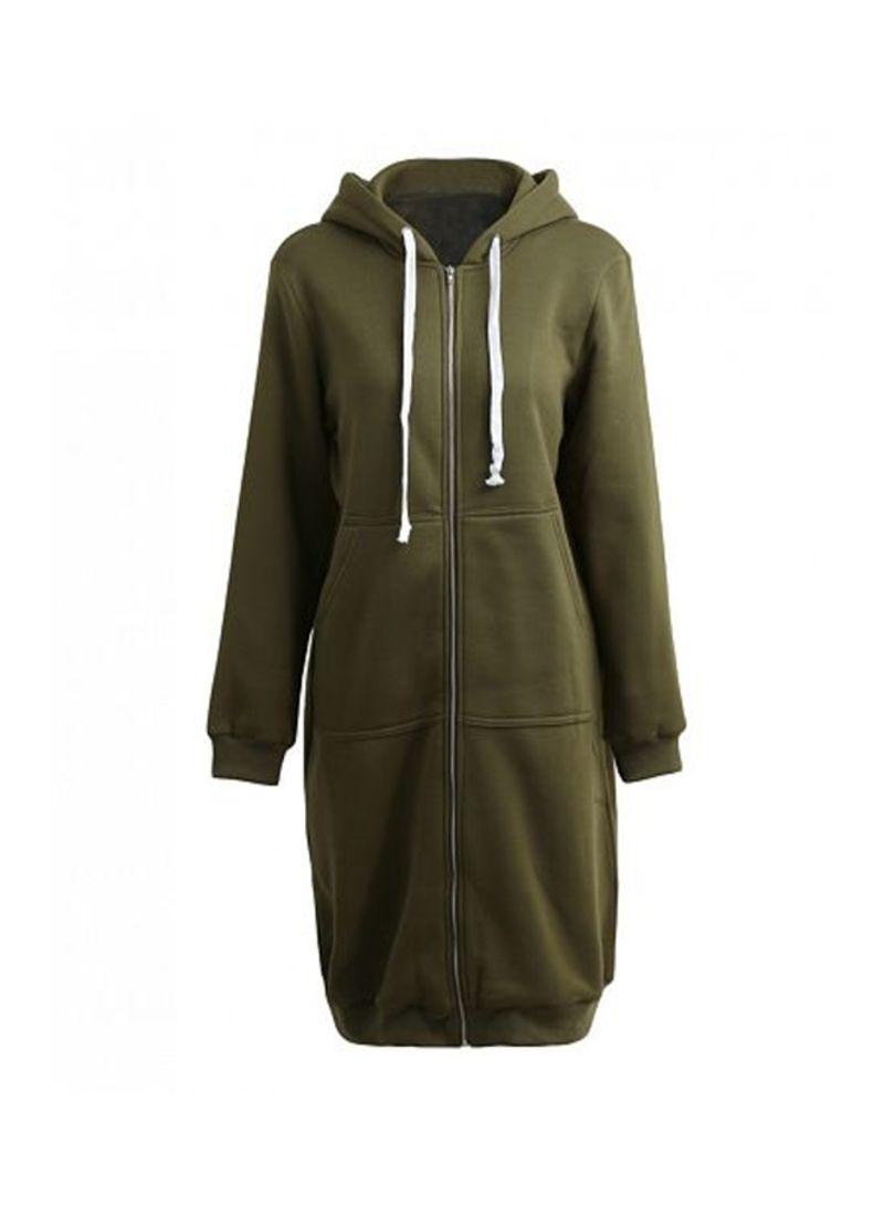 Long Hooded Sweatshirts Coat Dark Green