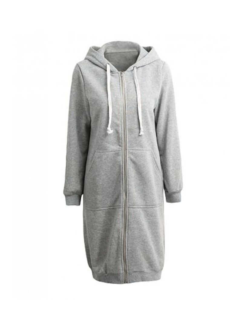 Long Hooded Sweatshirts Coat Grey Grey