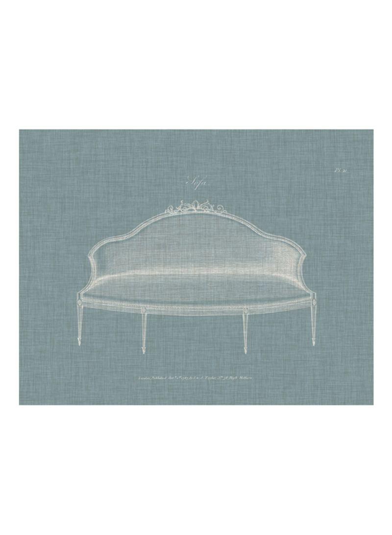 Hepplewhite Sofas III Poster Blue/White