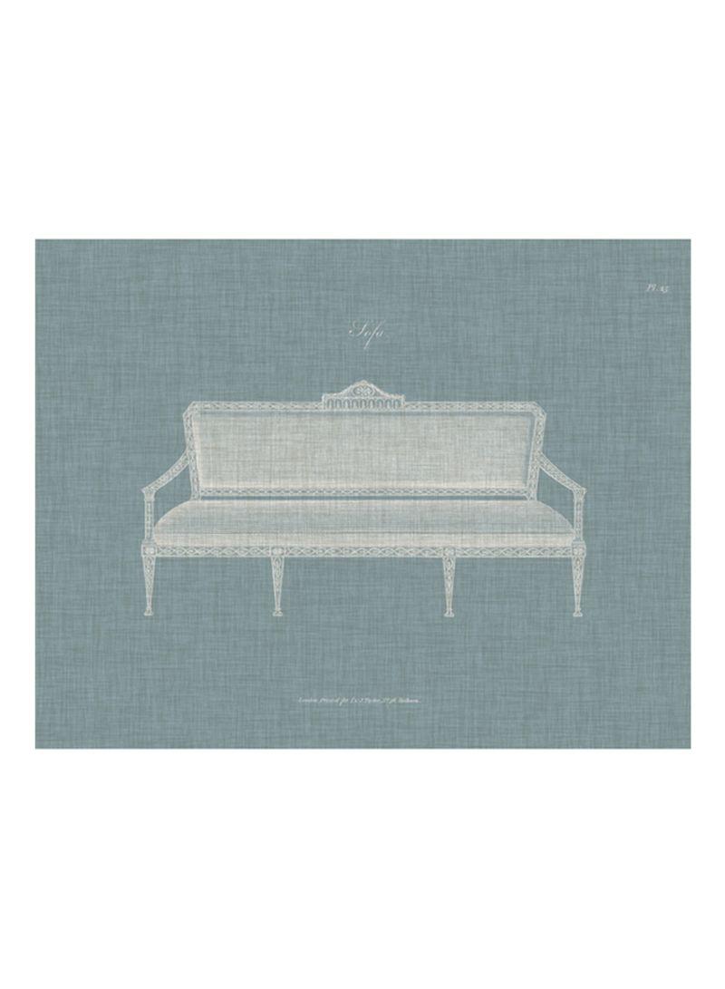 Hepplewhite Sofas II Poster Blue/White