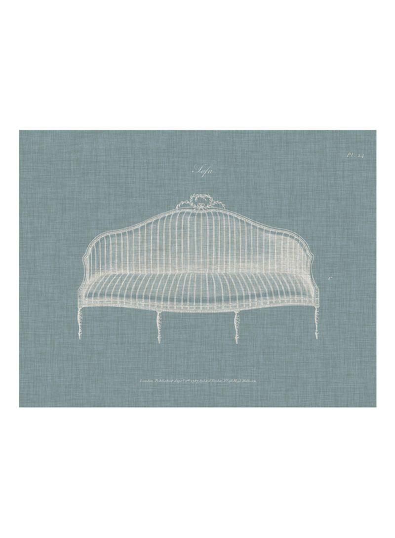 Hepplewhite Sofas IV Poster Blue/White