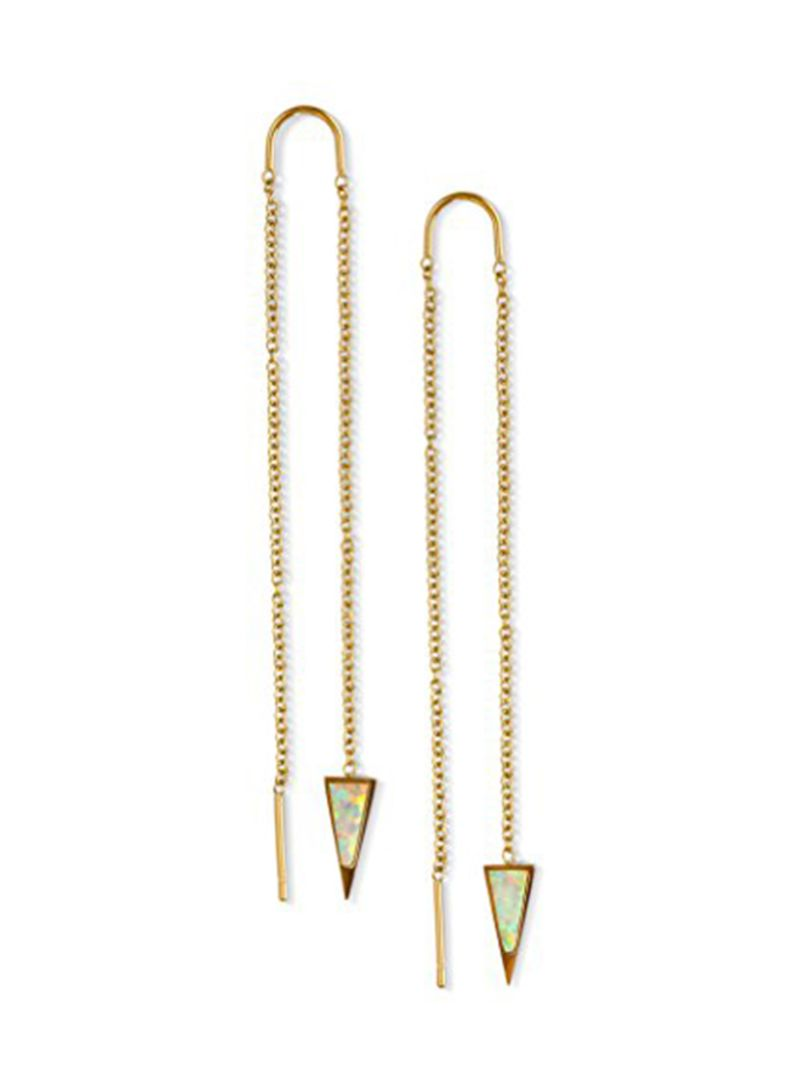 Stainless Steel 14K Gold Chain Ear Threads