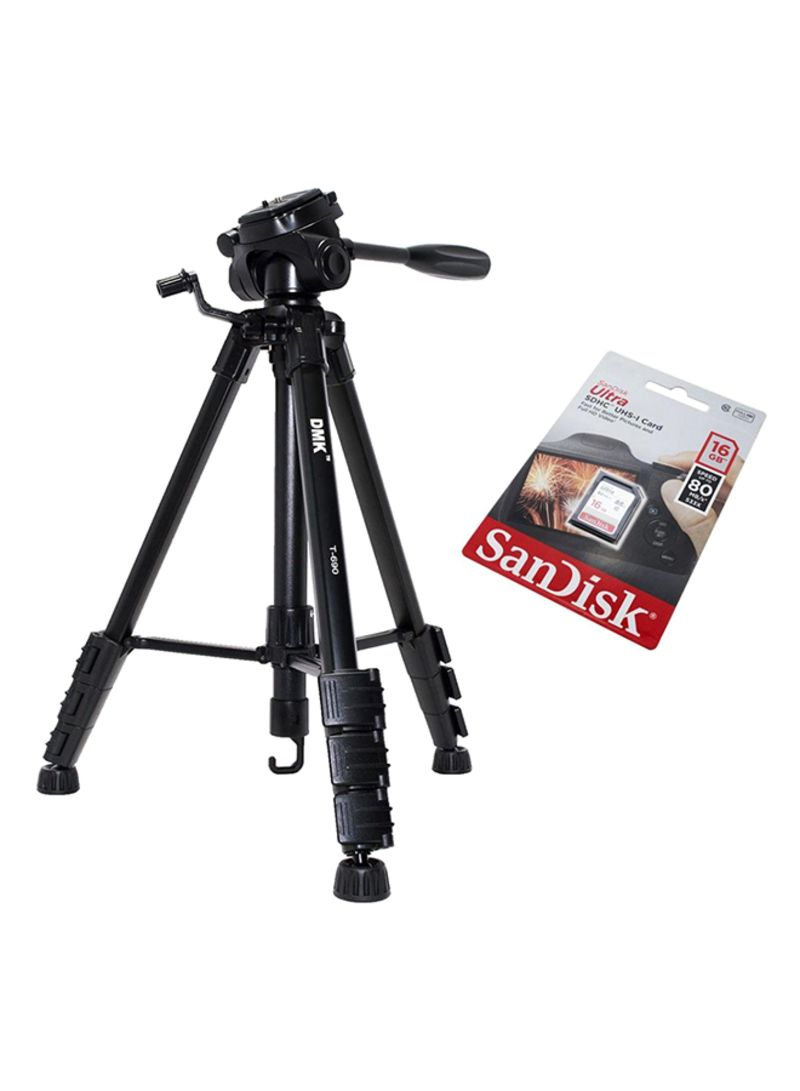 T690 Tripod + SanDisk 16GB Ultra MicroSD UHS-I/C10 Memory Card For Cameras for Nikon D600, D3100 D3200 D5100 D5200 Black