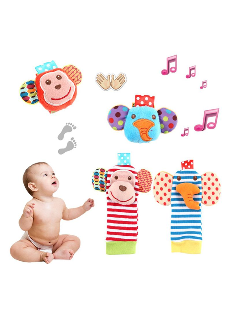 Baby Wrist Rattle And Foot Rattles Finder Socks (4 Packs)