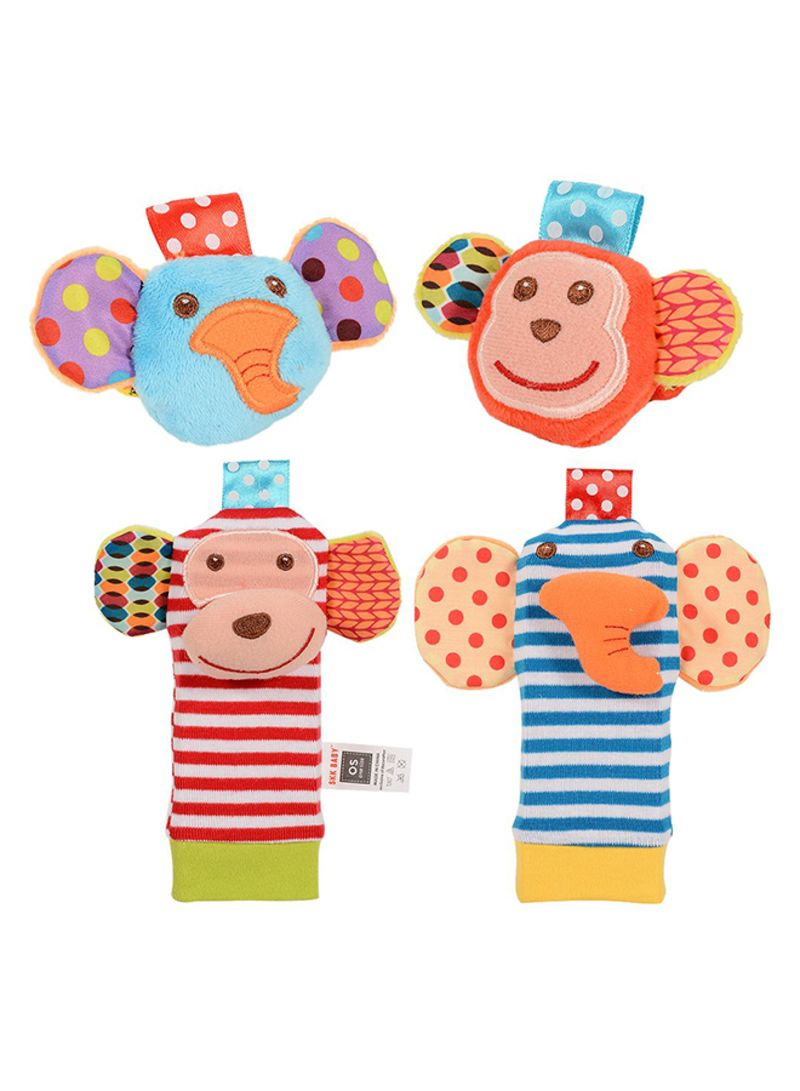 4 Pieces Baby Wrist Rattle And Foot Rattles Finder Socks Monkey And Elephant Toys Set