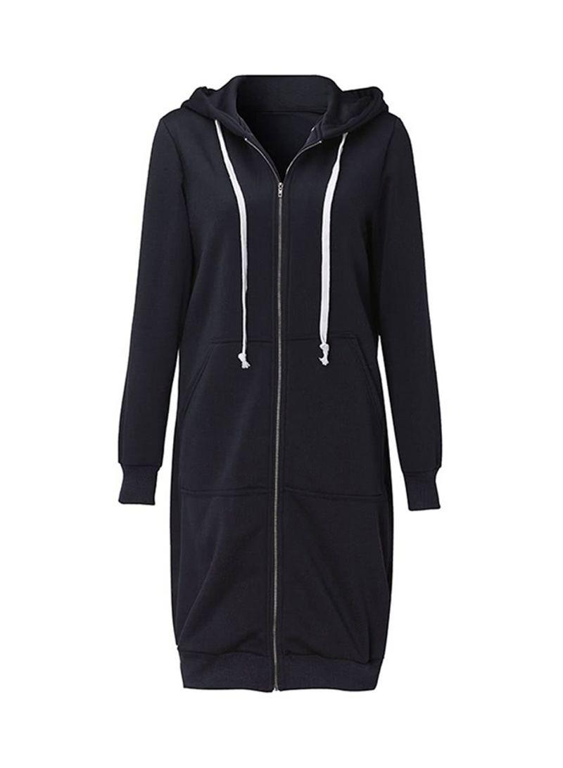 Long Hooded Sweatshirts Coat Black Black