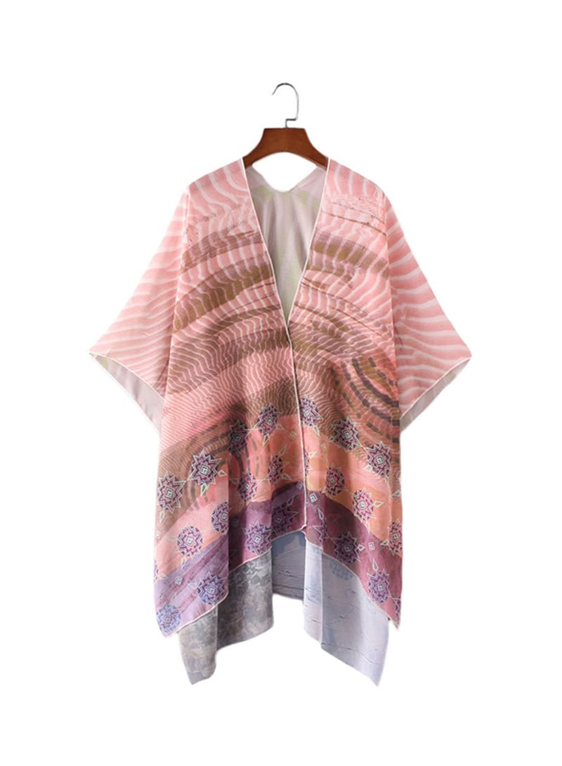 Floral Print Cardigan Thin Vintage Casual Outerwear Pink Pink