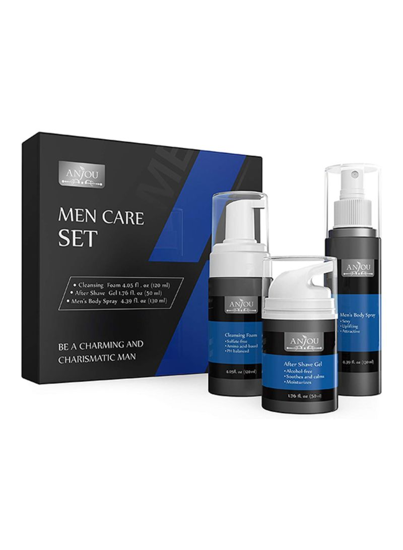 Men Care Kit 1 X Face Cleansing Foam 1 X After Shave Gel And 1 X Cologne Body Spray For Men Skincare Set For Sensitive Skin