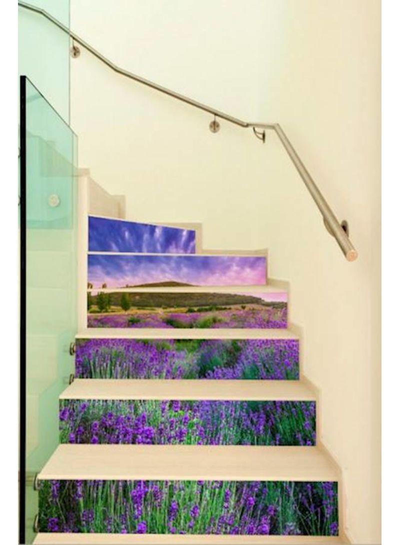 6Pcs Stair Sticker Lavender Pattern Self-Adhesive Waterproof Home Decoration