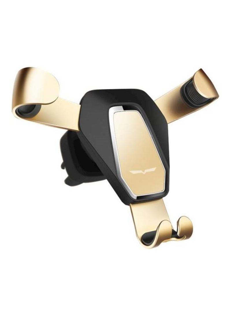 Car Air Outlet Metal Navigation Rotating Mobile Phone Car Holders Black & Gold