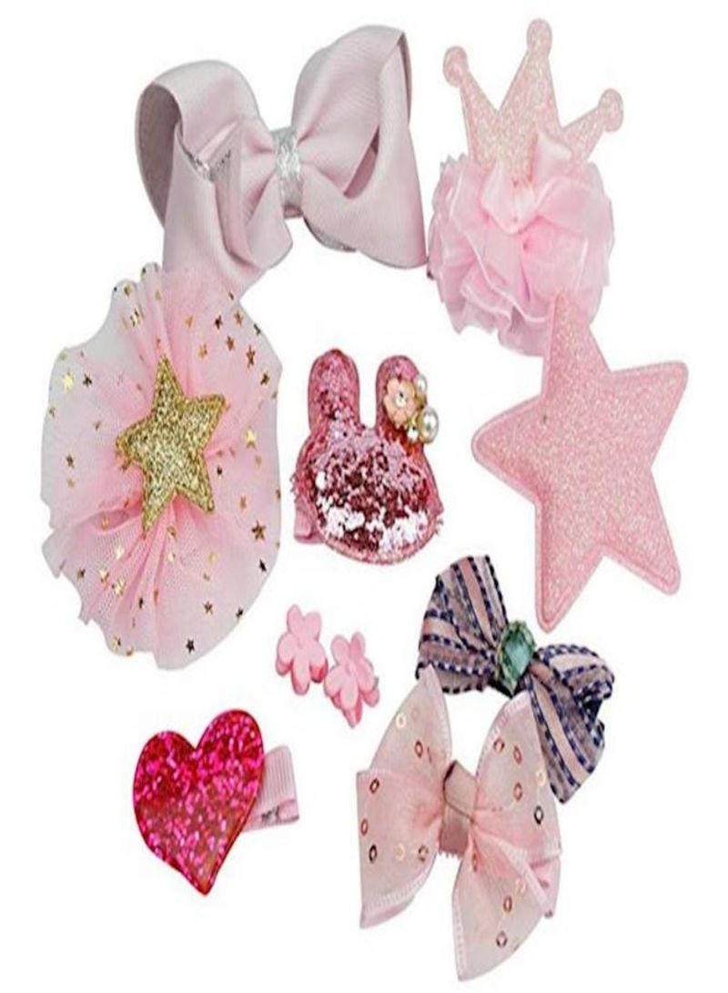 Baby Girls 10pcs Hair Clips Bows Barrettes Accessories Gift Box Set- Pink