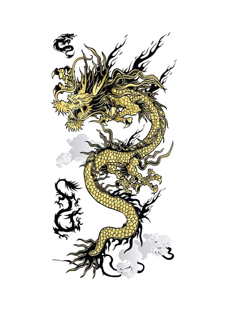 Set Of 2 Angry Dragon Temporary Tattoo Yellow/Black/Grey