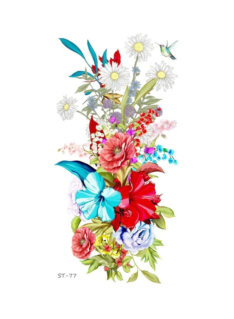 Set Of 2 Summer Flower Bouquet Temporary Tattoo Red/Blue/Green