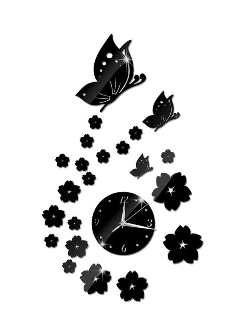 3D Mirror Butterfly Pattern Wall Sticker Clock Black/White/Silver 41x70x0.12 centimeter