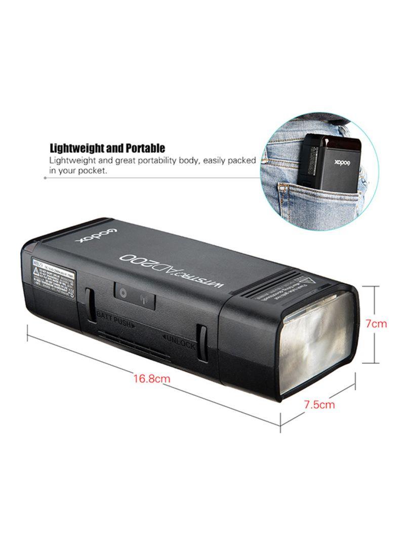 AD200 Mini Flash Light With 2 Light Heads DSLR Camera Black