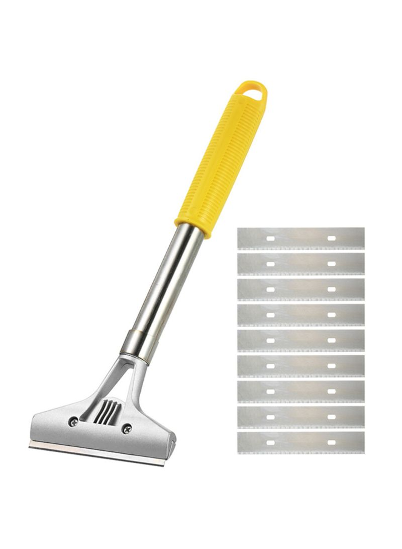 Tu-Q405-300Mm Multifunctional Floor Wall Scraper + 9 Replacement Blades Cleaning Tools Silver 0.301 kg