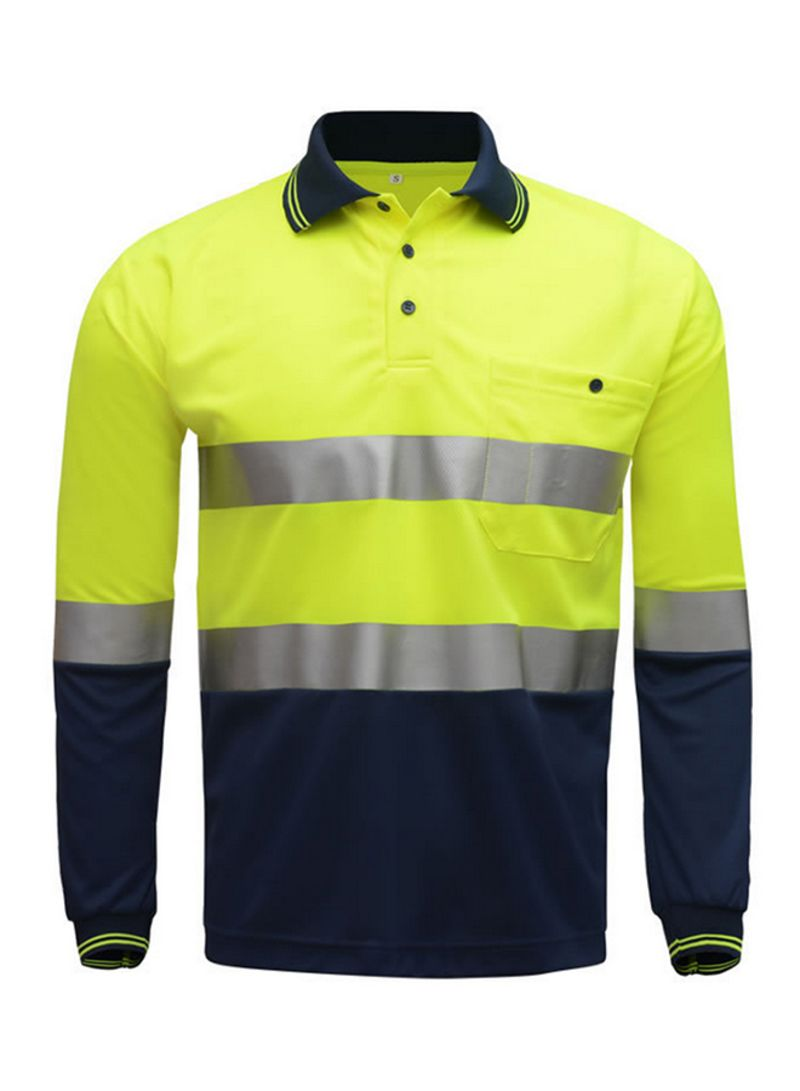 "SFVest Safety Reflective Shirt High Visible Long Sleeve Pocket T-Shirt 2"" Silver Reflective Tapes Men's Moisture Wicking Safety Polo Shirt Working Clothes Yellow&Navy Blue 0.3 kg"