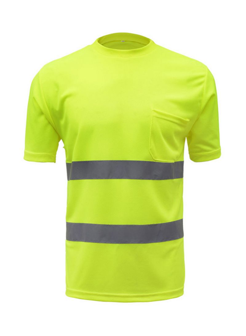 SFVest High Visibility Reflective Safety Work Shirt Reflective Vest Breathable Work Clothes Security Reflective T-Shirt Working Clothes Safety Polo Shirt Yellow 0.21 kg